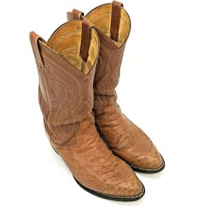 Tony Lama Smooth Ostrich Peanut Brittle Boots